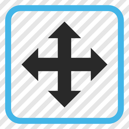 expand: Expand blue and gray vector icon. Image style is a flat pictograph symbol inside a rounded square frame on a transparent diagonally hatched background.