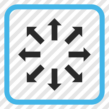 Explode Arrows blue and gray vector icon. Image style is a flat iconic symbol inside a rounded square frame on a transparent diagonally hatched background. Illustration