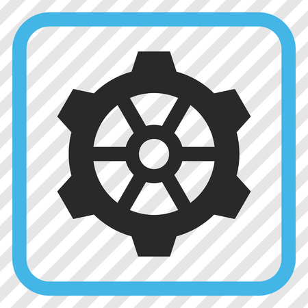 Gear blue and gray vector icon. Image style is a flat pictogram symbol inside a rounded square frame on a transparent diagonally hatched background. Illustration