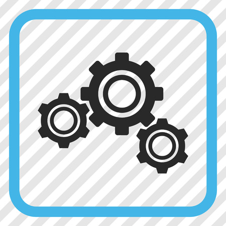 Gears blue and gray vector icon. Image style is a flat pictograph symbol in a rounded square frame on a transparent diagonally hatched background.
