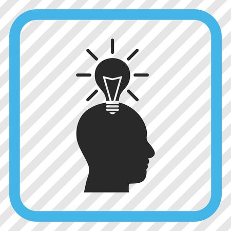 Genius Bulb blue and gray vector icon. Image style is a flat iconic symbol in a rounded square frame on a transparent diagonally hatched background. Illustration