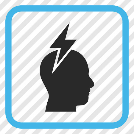 Headache blue and gray vector icon. Image style is a flat pictogram symbol inside a rounded square frame on a transparent diagonally hatched background.