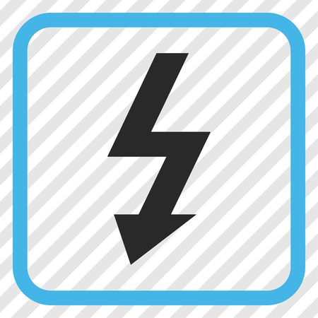 high voltage symbol: High Voltage blue and gray vector icon. Image style is a flat iconic symbol in a rounded square frame on a transparent diagonally hatched background. Illustration