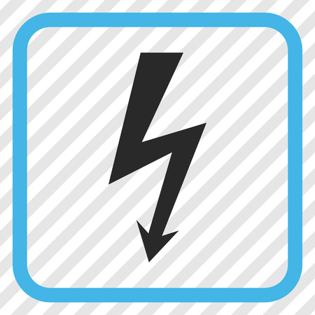 high voltage symbol: High Voltage blue and gray vector icon. Image style is a flat iconic symbol inside a rounded square frame on a transparent diagonally hatched background.