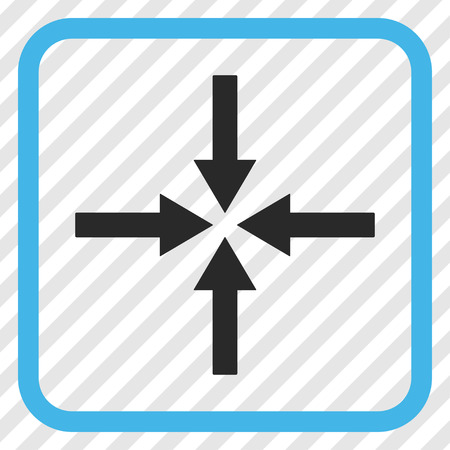 Impact Arrows blue and gray vector icon. Image style is a flat iconic symbol inside a rounded square frame on a transparent diagonally hatched background.