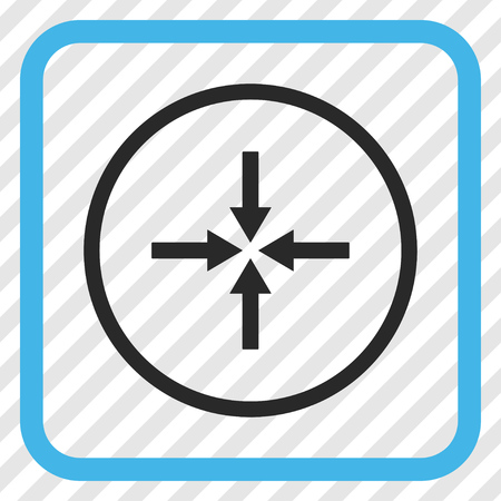 shrink: Impact Arrows blue and gray vector icon. Image style is a flat pictogram symbol in a rounded square frame on a transparent diagonally hatched background. Illustration