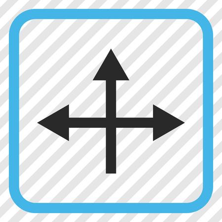 Intersection Directions icono de vector azul y gris. El estilo de la imagen es un símbolo de pictograma plano en un marco cuadrado redondeado sobre un fondo transparente en diagonal. Vectores