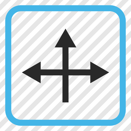Intersection Directions blue and gray vector icon. Image style is a flat pictograph symbol in a rounded square frame on a transparent diagonally hatched background.
