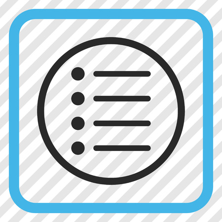 Items blue and gray vector icon. Image style is a flat icon symbol in a rounded square frame on a transparent diagonally hatched background. Illustration
