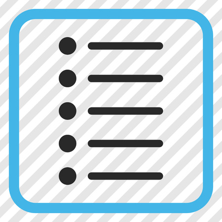 numerate: Items blue and gray vector icon. Image style is a flat iconic symbol inside a rounded square frame on a transparent diagonally hatched background. Illustration