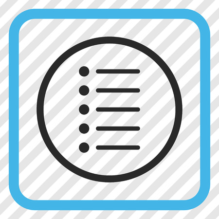 Items blue and gray vector icon. Image style is a flat icon symbol inside a rounded square frame on a transparent diagonally hatched background.