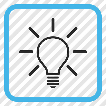 Light Bulb blue and gray vector icon. Image style is a flat pictograph symbol inside a rounded square frame on a transparent diagonally hatched background. Illustration