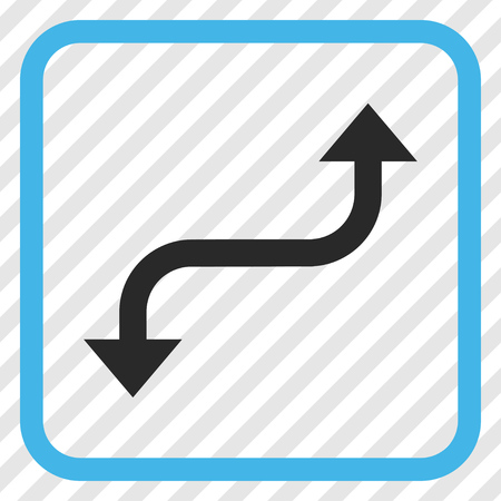 Opposite Curved Arrow blue and gray vector icon. Image style is a flat iconic symbol in a rounded square frame on a transparent diagonally hatched background. Illustration