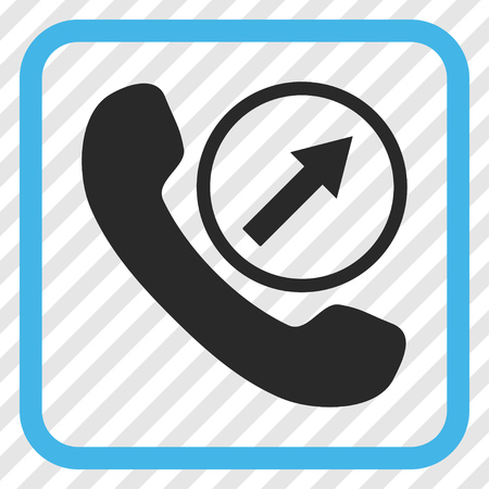 outgoing: Outgoing Call blue and gray vector icon. Image style is a flat iconic symbol in a rounded square frame on a transparent diagonally hatched background. Illustration