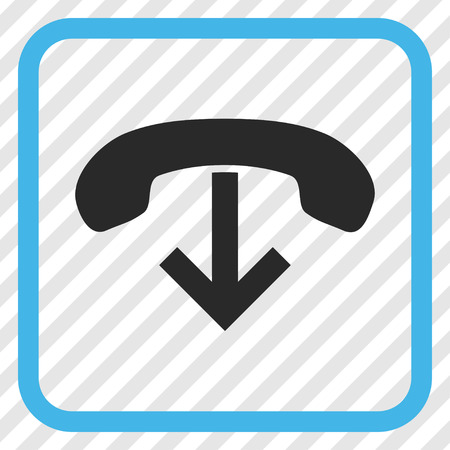 abort: Phone Hang Up blue and gray vector icon. Image style is a flat pictogram symbol inside a rounded square frame on a transparent diagonally hatched background.