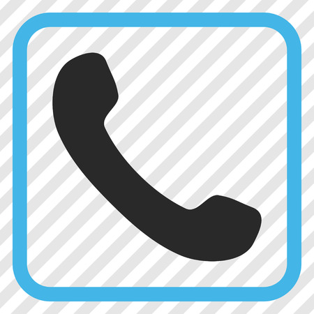 phone receiver: Phone Receiver blue and gray vector icon. Image style is a flat iconic symbol in a rounded square frame on a transparent diagonally hatched background.