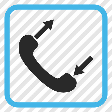 phone talking: Phone Talking blue and gray vector icon. Image style is a flat icon symbol in a rounded square frame on a transparent diagonally hatched background.