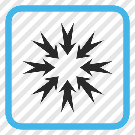 Pressure Arrows blue and gray vector icon. Image style is a flat pictogram symbol inside a rounded square frame on a transparent diagonally hatched background.