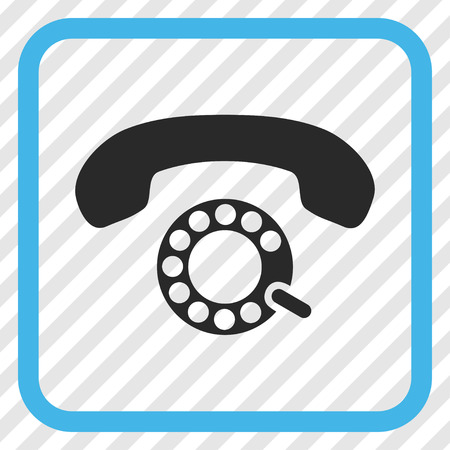 pulsing: Pulse Dialing blue and gray vector icon. Image style is a flat iconic symbol in a rounded square frame on a transparent diagonally hatched background.