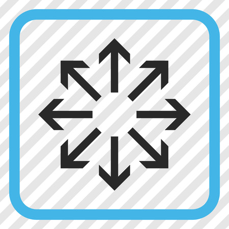 Radial Arrows blue and gray vector icon. Image style is a flat pictograph symbol in a rounded square frame on a transparent diagonally hatched background.