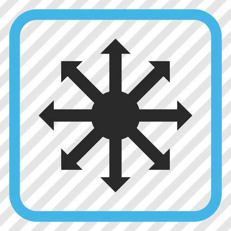 Radial Arrows blue and gray vector icon. Image style is a flat pictogram symbol inside a rounded square frame on a transparent diagonally hatched background. Illustration