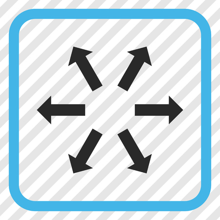 Radial Arrows blue and gray vector icon. Image style is a flat iconic symbol in a rounded square frame on a transparent diagonally hatched background.
