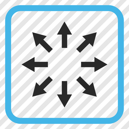 Radial Arrows blue and gray vector icon. Image style is a flat pictograph symbol inside a rounded square frame on a transparent diagonally hatched background.