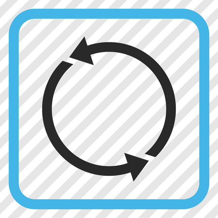 Recycle blue and gray vector icon. Image style is a flat iconic symbol in a rounded square frame on a transparent diagonally hatched background.