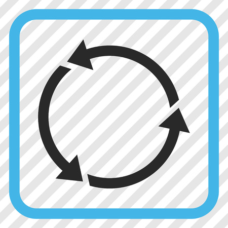Recycle blue and gray vector icon. Image style is a flat pictograph symbol inside a rounded square frame on a transparent diagonally hatched background. Illustration