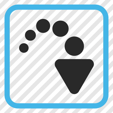 redo: Redo blue and gray vector icon. Image style is a flat pictogram symbol inside a rounded square frame on a transparent diagonally hatched background. Illustration
