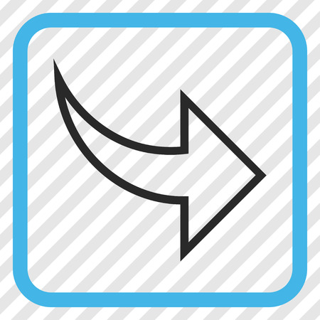Redo blue and gray vector icon. Image style is a flat icon symbol in a rounded square frame on a transparent diagonally hatched background. Illustration