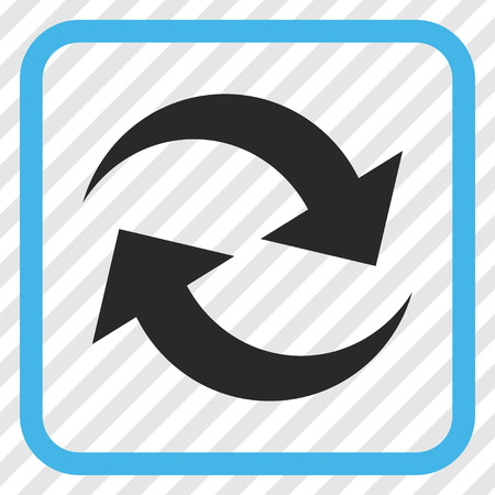 Refresh Arrows blue and gray vector icon. Image style is a flat iconic symbol in a rounded square frame on a transparent diagonally hatched background.