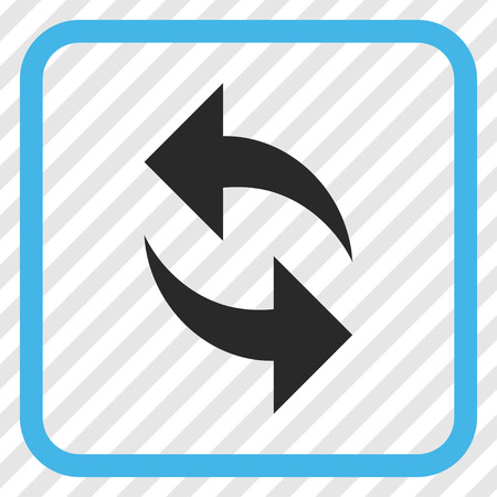 Refresh blue and gray vector icon. Image style is a flat pictograph symbol inside a rounded square frame on a transparent diagonally hatched background. Illustration