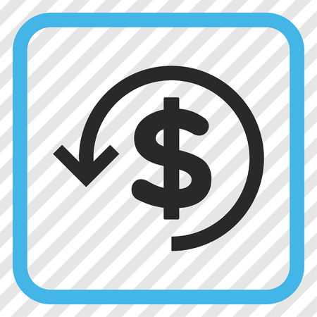 moneyback: Refund blue and gray vector icon. Image style is a flat icon symbol inside a rounded square frame on a transparent diagonally hatched background.
