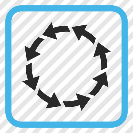 Rotate CCW blue and gray vector icon. Image style is a flat icon symbol in a rounded square frame on a transparent diagonally hatched background.