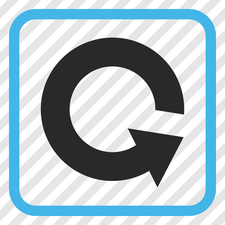 Rotate CCW blue and gray vector icon. Image style is a flat pictogram symbol inside a rounded square frame on a transparent diagonally hatched background. Illustration
