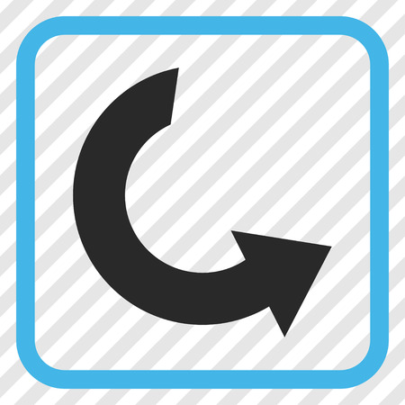 Rotate CCW blue and gray vector icon. Image style is a flat iconic symbol inside a rounded square frame on a transparent diagonally hatched background.