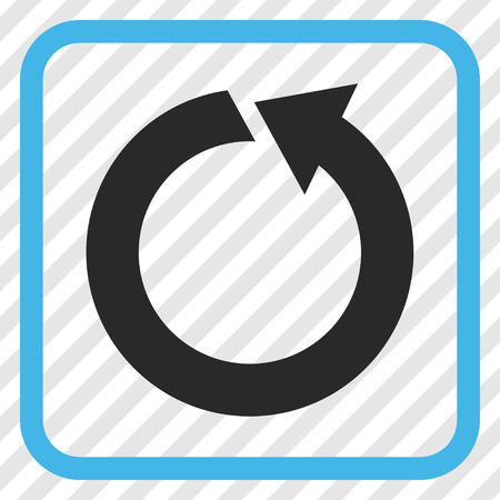 diagonally: Rotate CCW blue and gray vector icon. Image style is a flat iconic symbol inside a rounded square frame on a transparent diagonally hatched background.