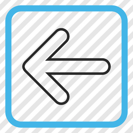 Rounded Arrow Left blue and gray vector icon. Image style is a flat pictograph symbol in a rounded square frame on a transparent diagonally hatched background.