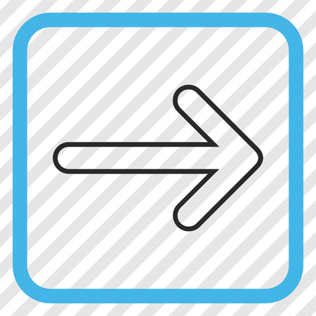propel: Rounded Arrow Right blue and gray vector icon. Image style is a flat pictogram symbol inside a rounded square frame on a transparent diagonally hatched background. Illustration