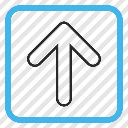 Rounded Arrow Up blue and gray vector icon. Image style is a flat pictogram symbol inside a rounded square frame on a transparent diagonally hatched background.
