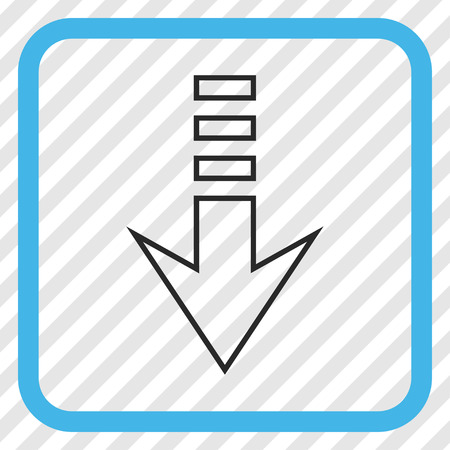 blue send: Send Down blue and gray vector icon. Image style is a flat pictograph symbol inside a rounded square frame on a transparent diagonally hatched background. Illustration