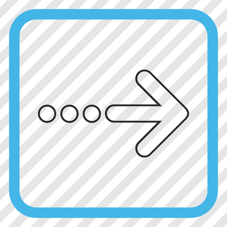 redirect: Send Right blue and gray vector icon. Image style is a flat pictogram symbol inside a rounded square frame on a transparent diagonally hatched background. Illustration