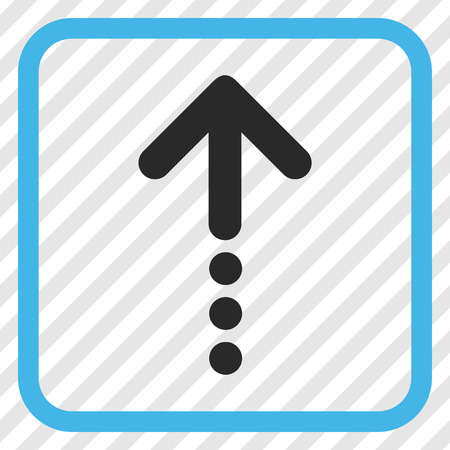Send Up blue and gray vector icon. Image style is a flat icon symbol in a rounded square frame on a transparent diagonally hatched background.