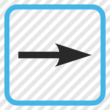 propel: Sharp Arrow Right blue and gray vector icon. Image style is a flat iconic symbol in a rounded square frame on a transparent diagonally hatched background.