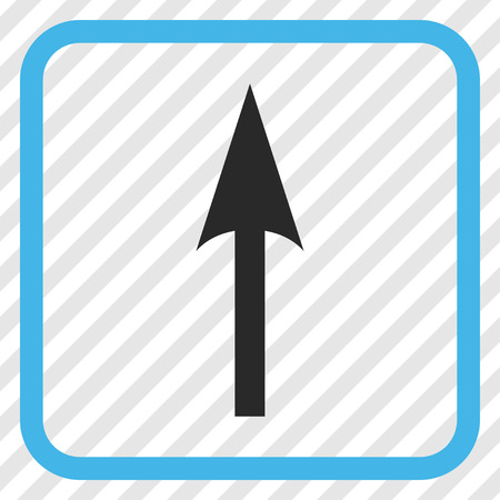 Sharp Arrow Up blue and gray vector icon. Image style is a flat pictogram symbol in a rounded square frame on a transparent diagonally hatched background.
