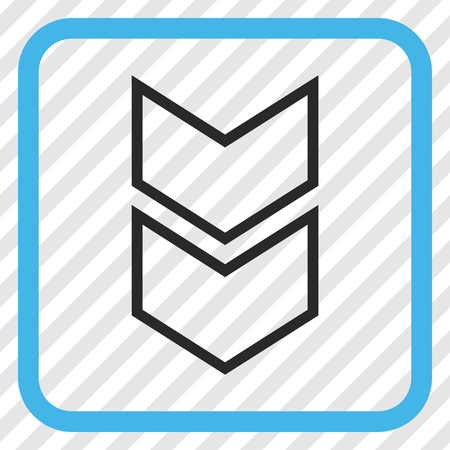 shift: Shift Down blue and gray vector icon. Image style is a flat iconic symbol in a rounded square frame on a transparent diagonally hatched background. Illustration