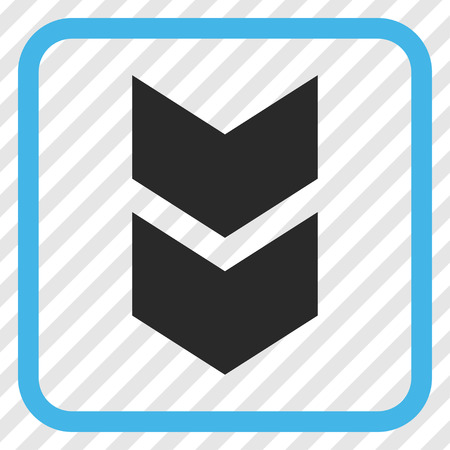diagonally: Shift Down blue and gray vector icon. Image style is a flat icon symbol inside a rounded square frame on a transparent diagonally hatched background.