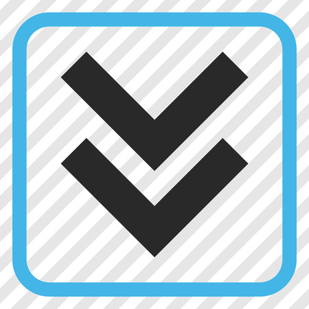 shift: Shift Down blue and gray vector icon. Image style is a flat icon symbol in a rounded square frame on a transparent diagonally hatched background.