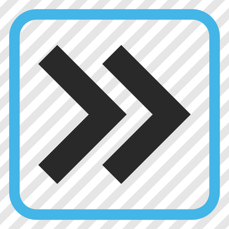 propel: Shift Right blue and gray vector icon. Image style is a flat pictograph symbol inside a rounded square frame on a transparent diagonally hatched background.